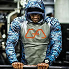 Mens Camouflage Hoodies Gym Workout Muscle Pullover Sweatshirt Jumper Tracksuit