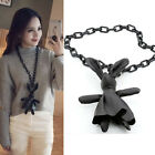 Fashion Leather Rabbit Pendant Necklaces Women Sweater Long Chain