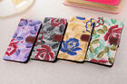 Flower Leather Wallet Case Cover Card Slot For iPhone Samsung Sony HTC LG