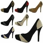 NEW WOMENS CONCEALED PLATFORM STILETTO HIGH HEELS LADIES COURT SHOES SIZE 3-8