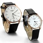 Casual Round Second Hand Dial Leather Band Mens Womens Analog Quartz Wrist Watch