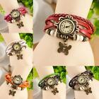 Fashion Women's Quartz Movement Leather Butterfly Bracelet Wrist Watch Jewelry