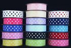 POLKA DOT/SPOTTY SATIN RIBBON 25MM CHOICE OF COLOURS AND LENGTHS