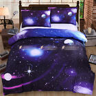 Universe Galaxy Blue Double Queen Size Bed Quilt/Doona/Duvet Cover Set Pillowcas