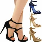 New Womens Ladies Ankle Strappy High Heel Party Sandals Platforms Stilettos Size