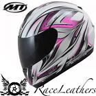 MT THUNDER ROADSTER 2 GREEN WHITE MOTORCYCLE MOTORBIKE BIKE FULL FACE HELMET