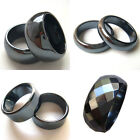 Hot 2PC AAA Wide Non-magnetic Hematite Stone Finger Band Rings New