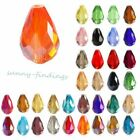 20Pcs Center Drilled Faceted Teardrop Crystal Loose Spacer Glass Beads for DIY