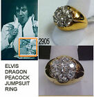 ELVIS RING DRAGON AND PEACOCK JUMPSUIT MIDDLE FINGER CZ RING ETA