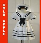 Toddler Girl Sailor Outfit, Navy Blue/White, S, M, L, XL, 2T,3T,4T