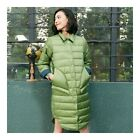 Middle Long Down Coat Woman Contrast Color Thin Light   pea green