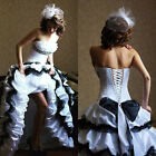 Vintage Black and White Wedding Dress Gothic Strapless Ruffles Ball Bridal Dress