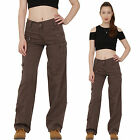 New Ladies Womens Dark Brown Cotton Wide Loose Leg Cargo Pants Combat Trousers