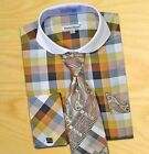 Daniel Ellissa Brown/Green Men's Spread French Cuff Dress Shirt/Tie/Cufflink Set