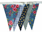 Blue vintage floral single sided bunting wedding garden or birthday party