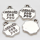 "10/20Pcs ""Created For You"" Tibet Silver Charm Jewelry Pendants Craft DIY 12*11mm"