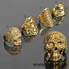Damen Ring Fingerring Messing Ring Biker Skull Blüten Feder gold RS58