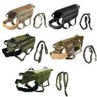 TACTICAL DOG VEST + LEASH K9 MOLLE HARNESS HUNTING TRAINING MILITARY ARMY XS- XL