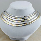 Women's Stainless Steel Fashion Silver Gold Collar Choker Bib Statement Necklace