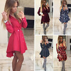 New Sexy Lady Long Sleeve Party Dress Cocktail Casual Mini Shirt Dress Plus Size