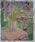 Antique French original floral still life water colour, iris