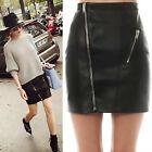 2016 Unique Womens Ladies Sexy PU Leather Zipper Bodycon High Waist Short Skirt