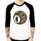 8 Ball-Flower Eight 80 cotton Baseball t-shirt 3/4 sleeve Raglan Tee
