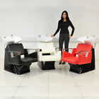 BLACK/WHITE/RED HAIR WASH UNIT WITH BLACK LEATHER STYLE CHAIR, MIXER TAP AND SHO