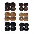 3Pairs Vintage Wood  Steel Fake Cheater Ear Plugs Barbell Ear Stud Earring Gauge