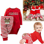 Xmas Newborn Baby Boys Girls Romper Jumpsuit Bodysuit+Pants Clothes Outfits Set