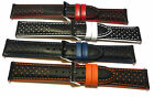 Italian Leather black and coloured rally watch strap. Lined. 18, 20 & 22mm