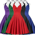 New Ladies Vintage Swing 1950's Housewife Pinup Evening Party Prom Halter Dress