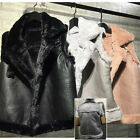 Women Ladies Fall Winter Leather Fur Wool Cardigan Waistcoat Jacket Vest Tops