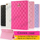 Luxury Crown Diamond Slim Quilted Leather Case Smart Cover Stand For Apple iPad