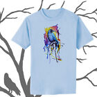 Rainbow Raven Bird Crow Watercolor Art T-shirt Youth - Adult