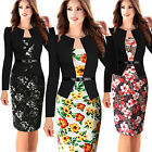 Plus Size Womens Ladies Vintage Floral Long Sleeve Cocktail Party Dress Bodycon