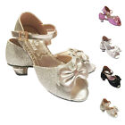 Girls kids Children Sandals Wedding Bridesmaid Party Metal Heels 12-3