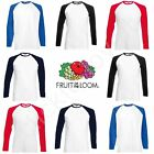 Fruit of the Loom Mens Womens Long Sleeve Baseball Tee T-Shirt FOTL