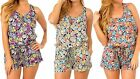 NWT Women Pull-on Style Tied Back Romper with Self-Tie String Floral Print