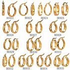 MODOU Fashion Gold Tone Stainless Steel Hollow Round Shape Huggie Hoop Earrings