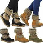 Womens Ladies Flat Low Wedge Faux Fur Winter Ankle Boots Warm Fleece Size New