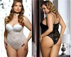 Taglie Forti Curvy Sexy Body Bianco Sposa In Pizzo Intimo Donna Lingerie Comode