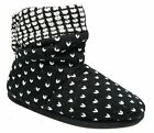 Womens Ladies Boot Slippers / Black Knitted Warm Lined Ruched Collar Coolers