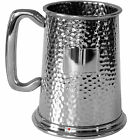 Pewter Beer Tankard - 1 Pint Fully Hammered Finish with Space for Engraving