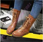 Womens Punk Brogue Lace Up Mid Calf Boots Oxfords Wing Tip Autumn School Shoes