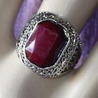 Vintage Antique Silver Alloy Ring Blood Red Acrylic Resin Stone Retro Size 7-10