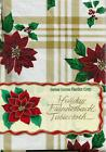 Vinyl Tablecloth with Flannel Back Holiday Winter Poinsettia Yellow Gold Plaid