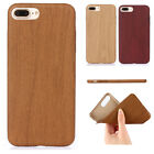 Fashion Ultrathin Natural PU Wooden Wood Soft Back Case Cover For iPhone Samsung