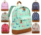 GIRLS WOMEN NEW EVERYDAY CANVAS DOG PRINTED TRAVEL COLLEGE SCHOOL BACKPACK