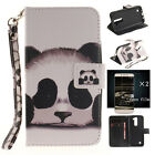 Cute Panda Pattern PU Leather Card Flip Wallet Stand Case +2 free Film For LG
